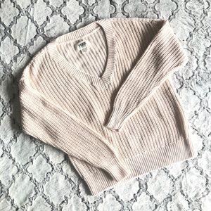 PINK Victoria Secret V-neck Knit Ivory Sweater XS